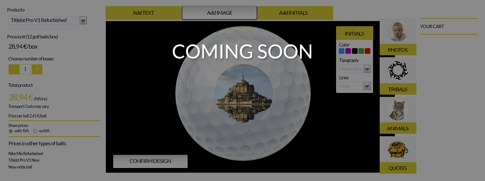 Golf balls customizer with logos and pictures